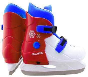 Коньки ледовые раздв. Slide р. 35-38 красные