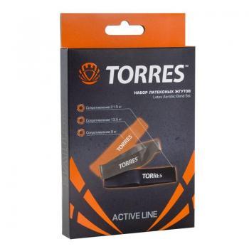 """Эспандер """"TORRES""""набор рез.жгутов TPR 24см 3жгута с раз.сопротив. AL0049"""